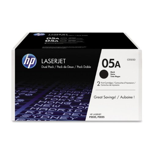 HP 05A (CE505D) Black Original LaserJet Toner Cartridges, 2 pack