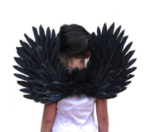 SACAS Small Black Feather Angel Wings for kids, girls, or boys with Free Halo