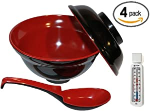 Set of 4 Japanese Rice Soup Bowls W lids and Spoon Set - Traditional Black & Red... by MBW NW