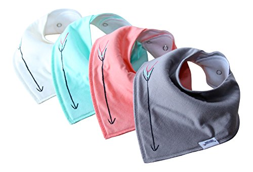 Matimati Baby Bandana Drool Bibs With Snaps For Girls & Boys – Super Absorbent, Soft, & Modern Set of 4 – Cute Baby Shower Gift (Solid Arrow Mint)