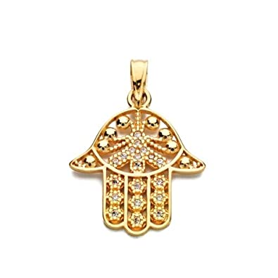 18K yellow gold pendant zircons hand fátima 21 mm.