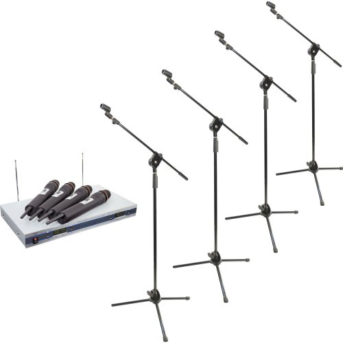 Pyle Mic And Stand Package - Pdwm5500 4 Mic Vhf Wireless Microphone System - 4X Pmks3 Four Tripod Microphone Stand W/ Extending Boom
