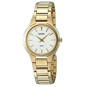 Seiko Women's Quartz Watch with Beige Dial Analogue Display and Gold Stainless Steel Plated Bracelet SFQ838P1