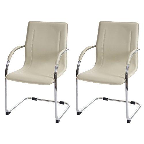 Set 2x sedie ufficio a slitta Samara acciaio ecopelle 56x60x96cm ~ avorio