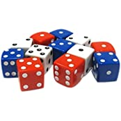 Custom & Unique {Assorted Large 19mm} 12 Ct Dozen Pack Set Of 6 Sided [D6] Square Cube Shape Playing & Fun Game...