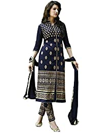 Kalyannam Trendz Women's Georgette Semi Stitched Anarkali Dress Material (UFS071215A054_Blue_Free Size)