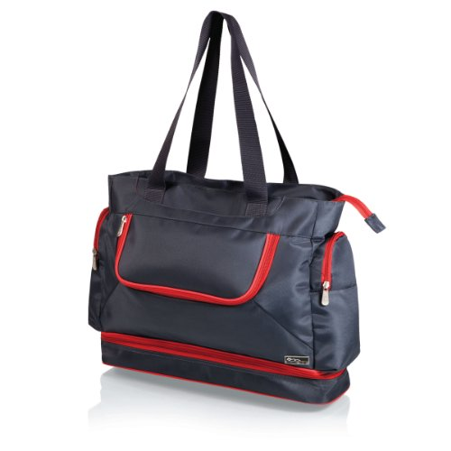 Picnic Time Insulated Beach Cooler Tote, Grey/Red front-560089