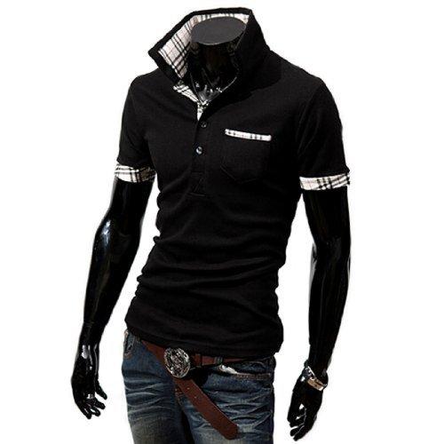 (ライセンス)RAiseNsE 半袖ポロシャツ チェック柄 シャツ #TP104 M ブラック