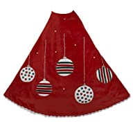 Kurt Adler Red Treeskirt with Ornament Design, 48-Inch