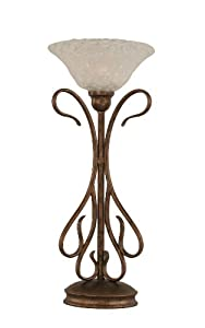 Toltec Lighting 38-BRZ-431 Swan One-Light Table Lamp Bronze Finish with Italian Bubble Glass Shade, 10-Inch