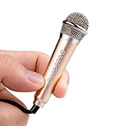 Mini Handheld Microphone Phonecase Home Mini Handheld Condenser MIC for Skype Recording Gaming Singing Voice Recording Internet Chatting on Tablets Smartphones Laptops Cellphones Home KTV-Silver Gold