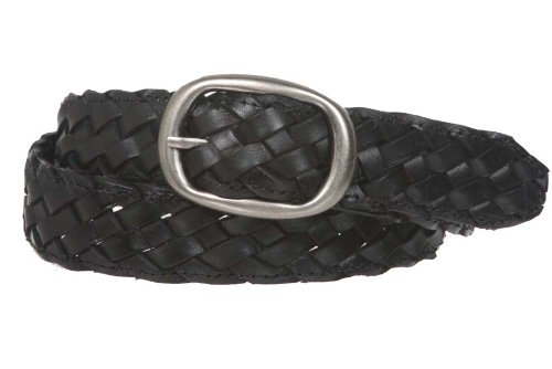 """1 1/4"""" Womens Braided Woven Leather Belt Size: S/M - 32"""" Color: Black"""