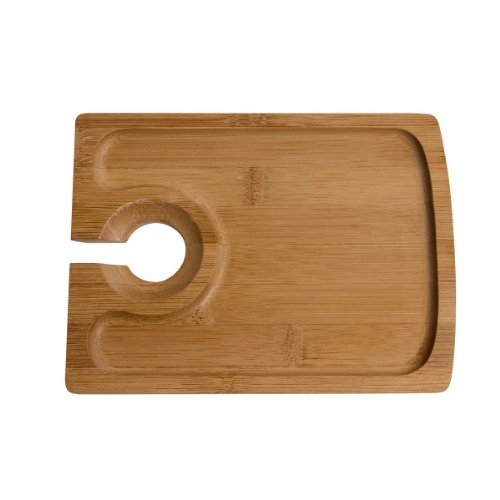 Oenophilia Bamboo Hors d' Oeuvres Plate - Set of 4 (Appetizer Plates With Wine Holder compare prices)