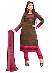 Craftliva Brown And Pink Embroidery Cotton Dresss Material