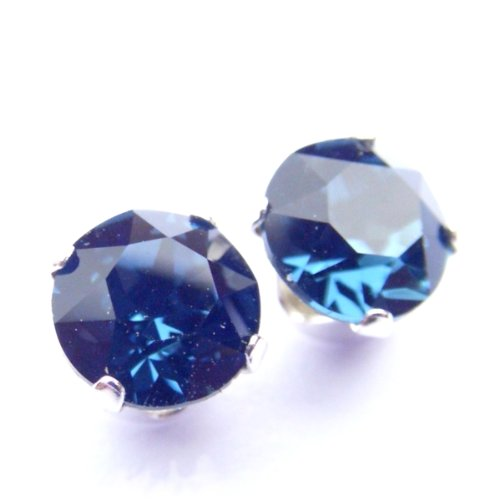 925 Sterling Silver Stud Earrings set with Montana Blue Swarovski Crystal Stones. Gift Box. Beautiful jewellery for very special people.