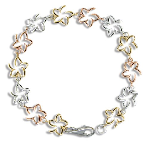 Sterling Silver Tri-color Open Plumeria Bracelet