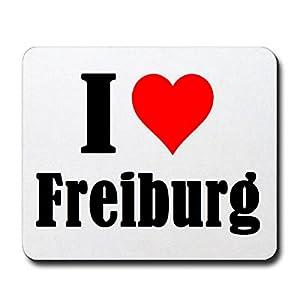 Mousepad I Love Freiburg in Weiß/ tolles Gaming Mauspad, Rutschfest/ eine tolle Geschenkidee für jeden Anlass
