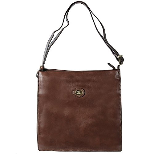 The Bridge Saddlery Uomo borsa a tracolla pelle 30 cm compartimenti portatile darkbrown