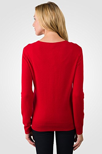JENNIE LIU Women's 100% Cashmere Button Front Long Sleeve Crewneck Cardigan Sweater (S, RED)
