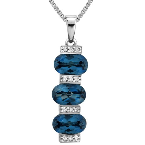 Sterling Silver London Blue Topaz and Diamond 3-Stone Pendant Necklace, 18