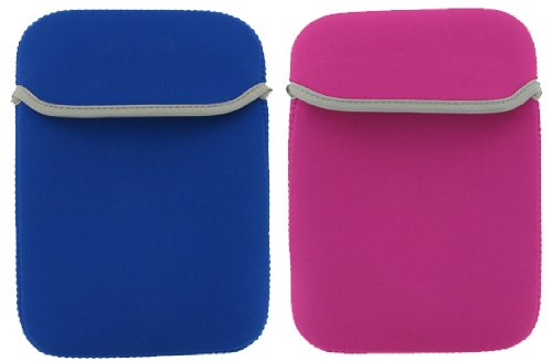 2-Sided Reversible Premium Laptop Just Fit Neoprene Sleeve Case Cover for Amazon Kindle 1st and 2nd Generation Electronic Reading Device (Kindle NOT included) , Dark Blue / Magenta