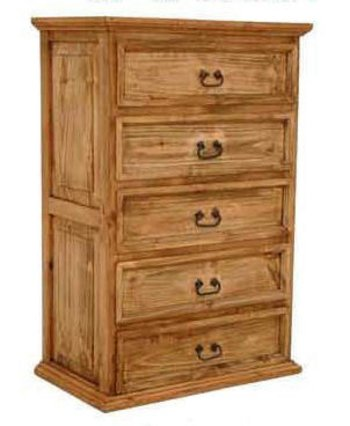 5 Drawer Chest of Drawers, Western, Rustic, Real Wood, Tall Dresser