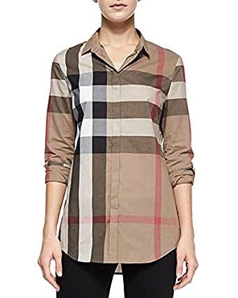 Burberry check pattern cotton shirt blouse x large taupe for Ladies brown check shirt