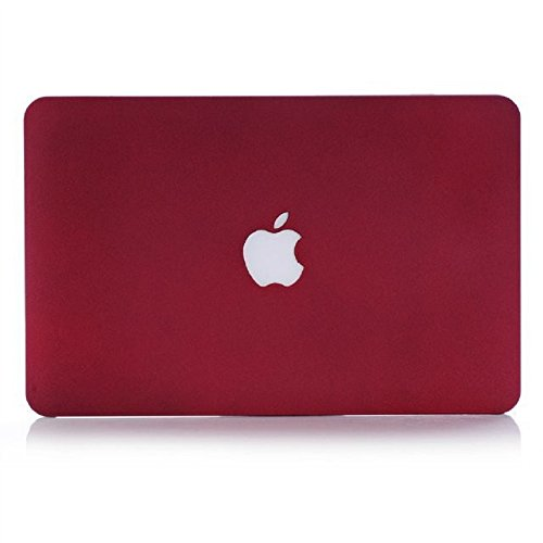 "Heartly Quicksand Finish MacBook Flip Thin Hard Shell Rugged Armor Hybrid Bumper Back Case Cover For MacBook Retina 12"" inch Retina Display A1534 - Metal Burgundy"