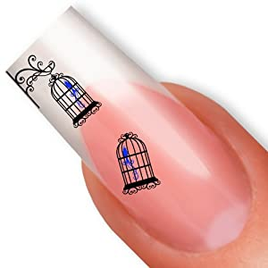 nailart nail tattoo sticker vintage vogel vogelk fig blau. Black Bedroom Furniture Sets. Home Design Ideas
