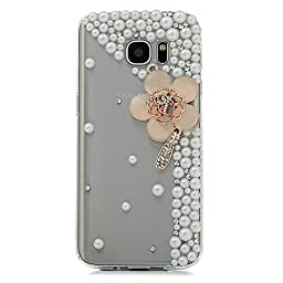 Samsung Galaxy S6 Active Case, STENES Luxurious Crystal 3D Handmade Sparkle Diamond Rhinestone Clear Cover with Retro Bowknot Anti Dust Plug - Flowers / Agate