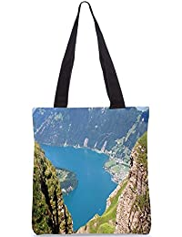 Snoogg Mountain View From The Top Digitally Printed Utility Tote Bag Handbag Made Of Poly Canvas
