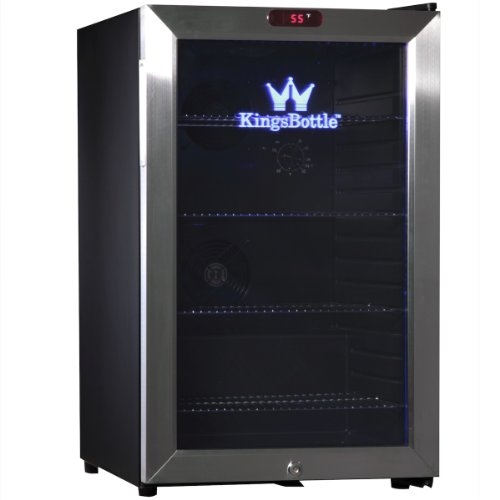 KingsBottle 66 Can Bar Fridge with Glass Door, Mini, Stainless Steel (Stainless Steel Bar Fridge compare prices)