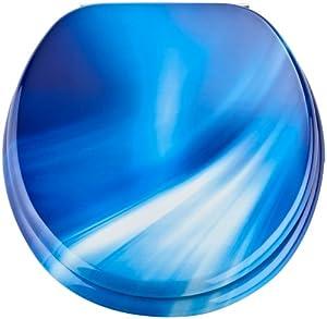 eisl edbw01 toilet seat mdf with blue wave motif diy