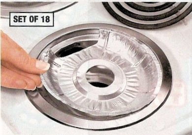 DISPOSABLE FOIL BURNER LINERS - ELECTRIC STOVES SET OF 18 BY JUMBL (Stove Burner Electric compare prices)