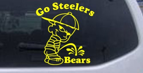 Yellow 8in X 7.6in -- Go Steelers Pee On Bears Car Window Wall Laptop Decal Sticker