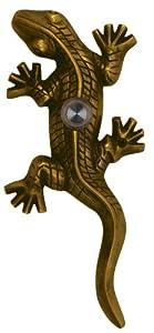 Solid Brass Gecko Doorbell - Antique Brass
