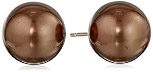 14k Yellow Gold 10mm Dyed Brown Mother-of-Pearl Stud Earrings