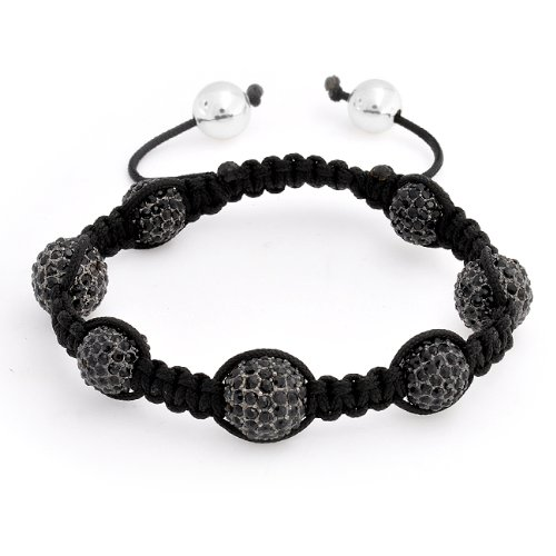 Bling Jewelry Black Crystal Bead Cyber Shamballa Inspired Bracelet Unisex 10mm