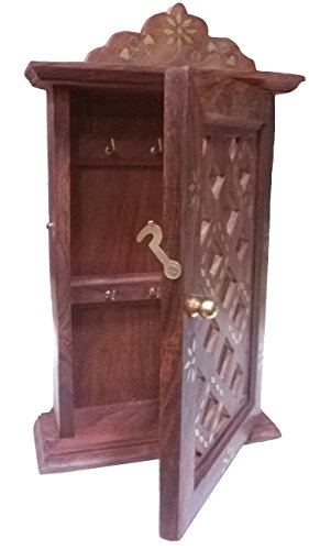 Wooden Key Cabinet with Glass Panel Door Chex Design,Gift for Christmas or Birthday to Your Loved Ones