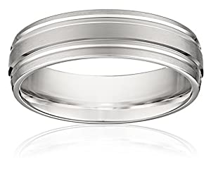 Men's 14k White Gold 6mm Oval Comfort Fit Plain Wedding Band with Polished Twin Concave Center Cuts, Size 9