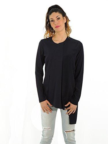 Dond Up blusa donna maglia con fondo asimmetrico manica lunga S605 (L, BLU)