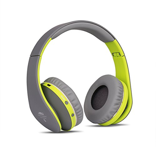 JBU Bluetooth Headphones JBT-900 Foldable Bluetooth 4.0 Wireless Headphones with Microphones Passive Noise Isolation Headset for Travel, Work, Sport ,TV, Sports,Mega Bass 10 Hours Play Time (Grey)