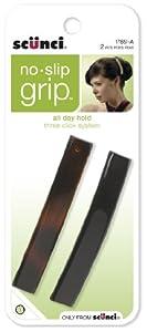 Scunci No-slip Grip Auto Clasp Barrettes, 8.5cm, 2-Count, Colors may vary