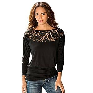 TAORE Women Long Sleeve Lace Casual Loose T-Shirt Crew neck Tops Shirt Tee (XL, Black)