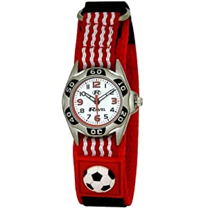 Ravel Kids Red And White Football Velcro Watch R1507.17