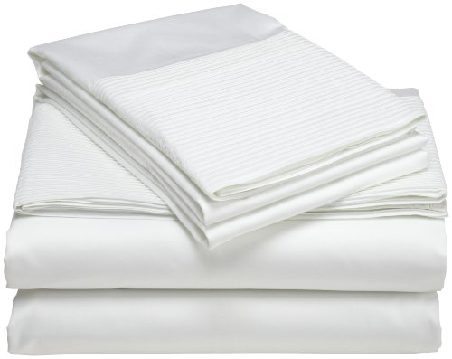 Best Prices! Pinzon Pleated Hem 400-Thread-Count 100% Egyptian Cotton Queen Sheet Set, Cloud