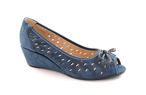 GRUNLAND IAKO SC1720 blu scarpe donna decolletè forato zeppa spuntato 39
