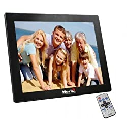 Merlin 15 inch Digital Photo Frame- Play photos, videos and music from this rich featured media frame with great stylish looks