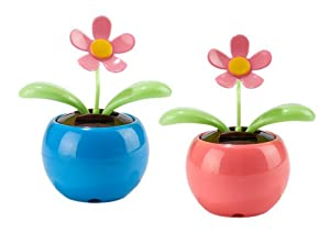 Two's Company Bee Happy Dancing Solar Flower, Set of 2