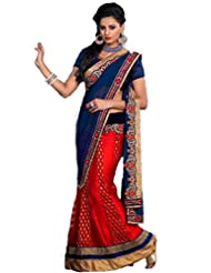 AG Lifestyle Navy Blue & Red Jacquard & Georgette Saree With Unstitched Blouse ASL705